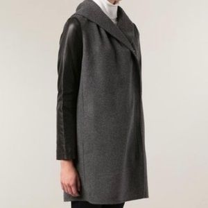 Vince Shawl-Collar Wool Coat with Leather Sleeves